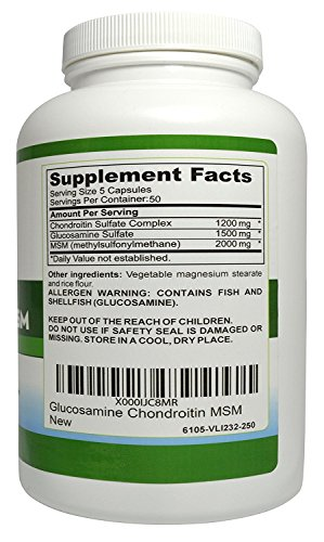 Healthzone Naturals Glucosamine Chondroitin MSM - 250 Capsules - Extra Strength Joint Support Supplement - Relieve Sore Knee, Hip, Finger, Wrist, Elbow, Shoulder, Lower Back Pain - Non-GMO Formula