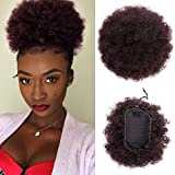 ForQueens High Puff Afro Ponytail Drawstring Short Afro Kinky Curly Pony Tail Clip in on Synthetic Curly Hair Bun Ponytail Wrap Updo Hair Extensions with 2 Clips(#99J)