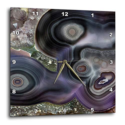 "3D Rose Purple Banded Agate - Quartzsite Wall Clock, 10"" x 10"","