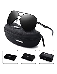 WELUK Aviator Sunglasses for Men Polarized Military Retro Large Frame