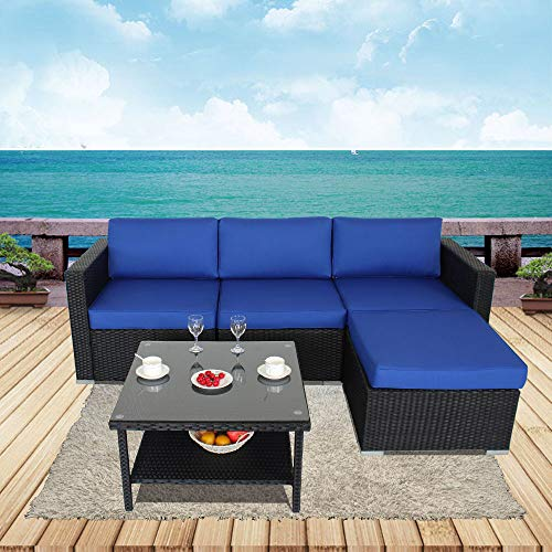 JETIME Outdoor Furniture Couch Patio 5pcs Black Sectional Wicker Sofa Set Garden Rattan Royal Blue Cushion Cover Cushioned Conversation Set with Double Storage Space Tea Coffee Side Table (5pcs) -