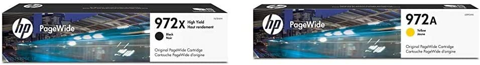 HP 972X | PageWide Cartridge High Yield | Black Noir| F6T84AN & 972A | PageWide Cartridge | Yellow | L0R92AN