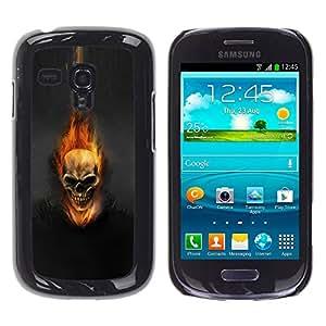 rígido protector delgado Shell Prima Delgada Casa Carcasa Funda Case Bandera Cover Armor para Samsung Galaxy S3 MINI NOT REGULAR! I8190 I8190N /Dark Flam Skull/ STRONG