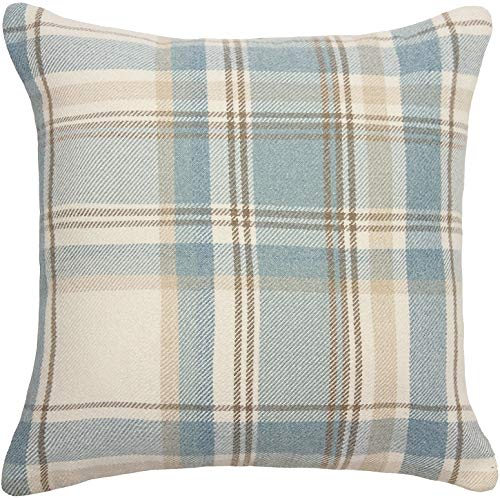 McAlister Textiles Heritage | Tartan Plaid Throw Pillow Cover in Duck Egg Blue | Square 18 x 18 | Decorative Striped Woven Cushion Sham Case for Sofa and Bedroom Country Cabin Accent Decor