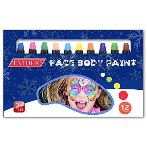 Face Paint Crayon 12 Color Face Painting Kits Sticks for Kids Washable Twistable Crayons for Kids Halloween Face Hair Body Painting Water Based Non-Toxic Set
