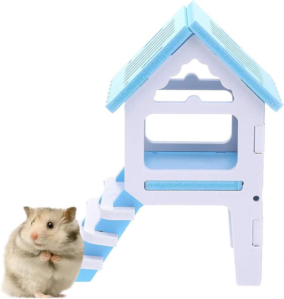 LANSKIRT Casa Hamster, Juguetes Hamster de Cabina de Madera con Escaleras para Jugar Casa Mascota Juguete Pequeño: Amazon.es: Ropa y accesorios