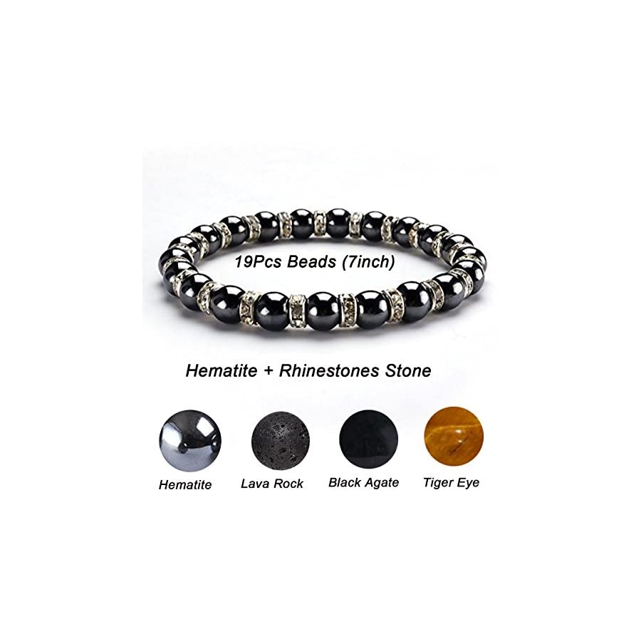 CAT EYE JEWELS Healing Energy Beads Stretch Bracelets, Magnetic Hematite Lava Rock Chakra Black Agate Adjustable Macrame for Men Women