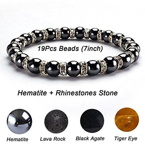 CAT EYE JEWELS Healing Energy Beads Stretch Bracelets, Magnetic Hematite Lava Rock Chakra Black Agate Adjustable Macrame for Men Women (With Additional Gift Red String Bracelet)