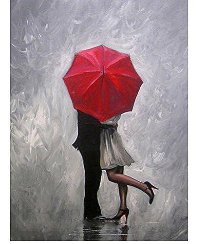Hecho a mano moderno abstracto pared decoración arte pintura al óleo Amor Perfecto Rojo paraguas pintado a mano arte lienzo pintura, lona, Rojo, ...