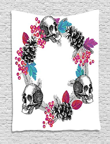Lohebhuic Halloween Tapestry Skulls Wreath with Flowers Berry Branch Rowanberry Leaf Conifer Wall Hanging for Bedroom Living Room Dorm]()