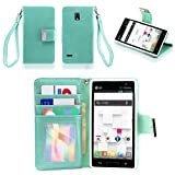 IZENGATE Executive Premium PU Leather Wallet Flip Case Cover Folio Stand for LG Optimus L9 P769 (T-Mobile & Metro PCS) (Mint)