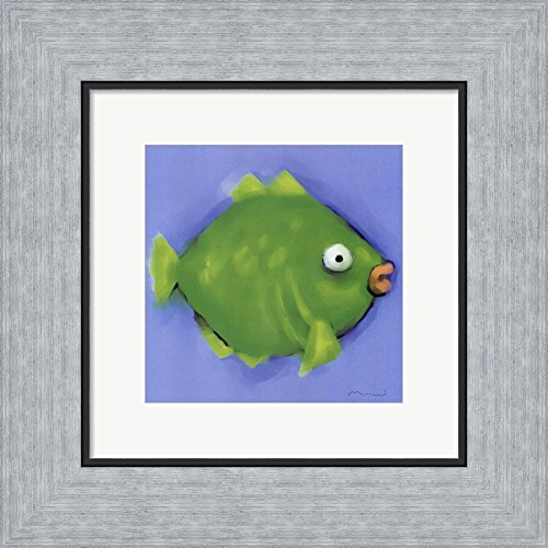 Green Pucker Fish (Green Pucker Fish by Anthony Morrow Framed Art Print Wall Picture, Flat Silver Frame, 12 x 12 inches)