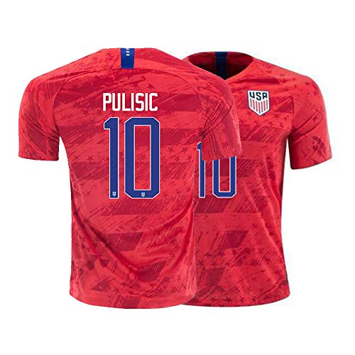 Reds Jersey Adult - Mens Pulisic Jersey 2019/2020 USA National Team 10 Away Adult Soccer Christian Sizes Red (Medium)