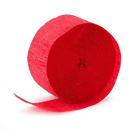 Party Crepe Streamer | Apple Red | 81' | Party Decor | 12 Ct.