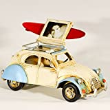 EliteTreasures Retro Metal Collectible 2CV Car Model & Photo Frame - Folding Photo Frame Surfboard On Roof - Beach Decor - Industrial Decorative Collectible Figurine