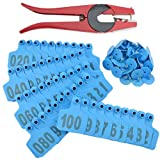 WGCD 100pcs 1-100 Number Plastic Livestock Cow Cattle Ear Tag Animal Tag and 1pcs Ear Tag Applicator (Blue)