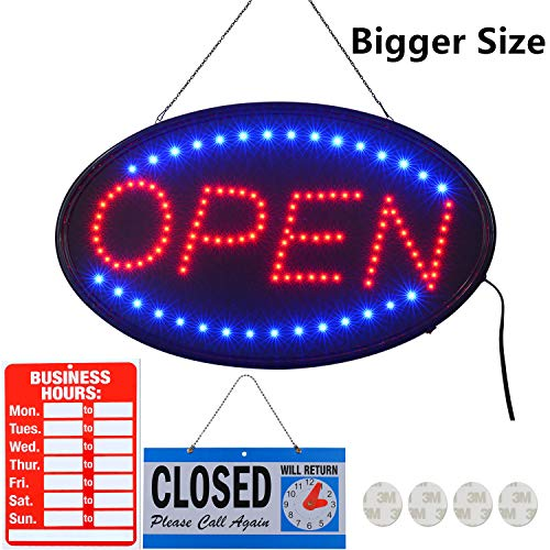 Neon Sign Abierto Open - LED Open Sign,23x14inch Larger LED Business Sign,Advertisement Display Board Flashing & Steady Light Open Sign for Business, Walls, Window, Shop, Bar, Hotel
