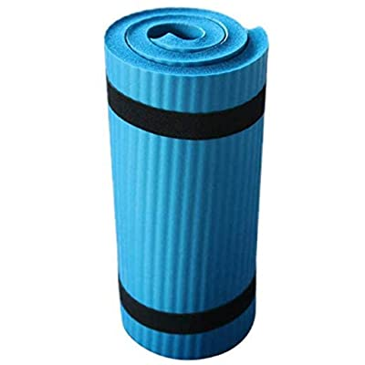 "Funic Exercise Mat 1"" Extra Thick Exercise Mat with Strap - Non Slip Workout Mat for Yoga, Pilates, Stretching, Meditation, Floor & Fitness Exercises (Blue) : Sports & Outdoors"