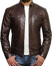 Brandslock Mens Lambskin Genuine Leather Biker Jacket