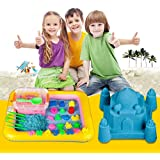 celebrationgift Magic Sand Activity Play set with Inflatable Sandbox and Molds, 2kg (Assorted Colour)