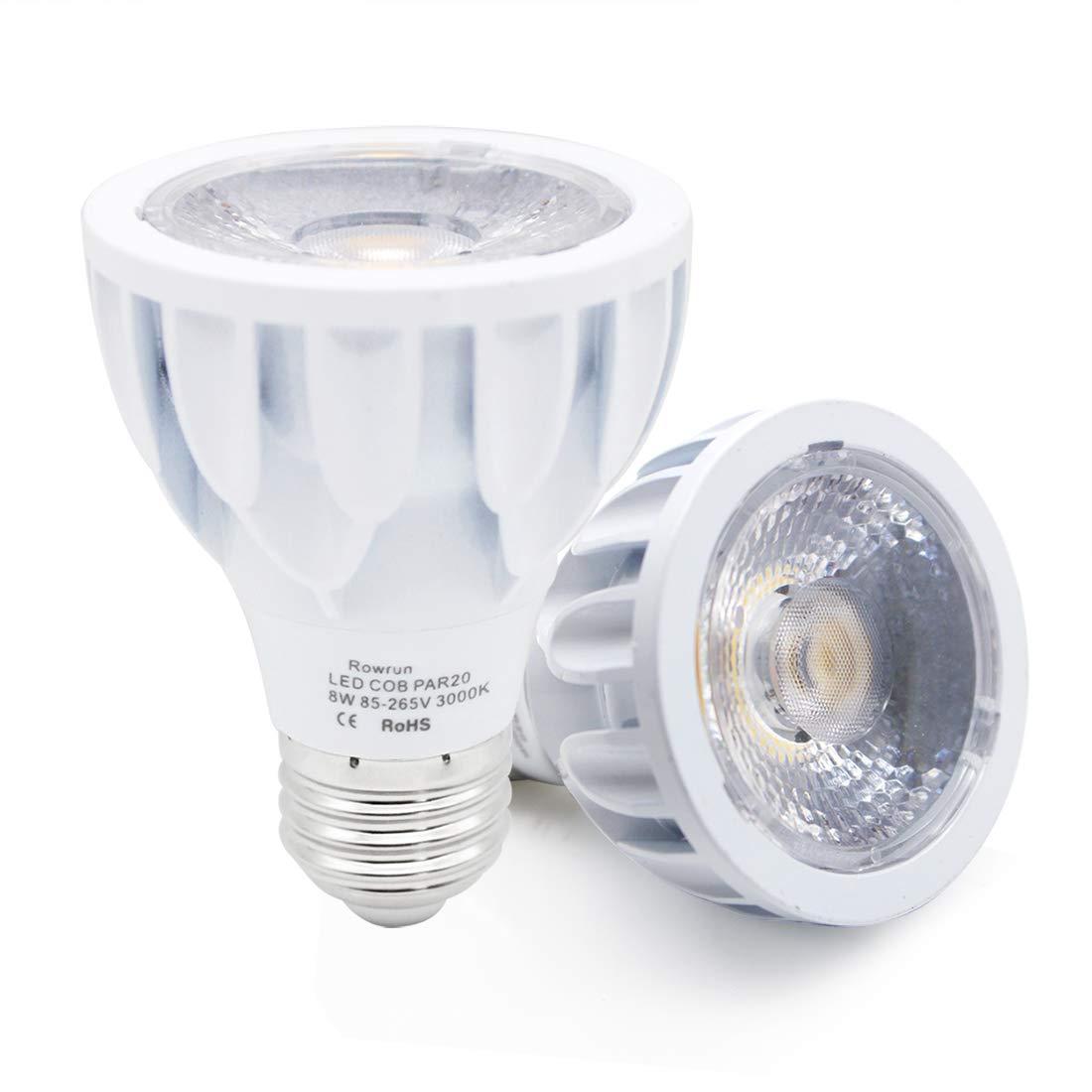75 Watts Equivalent PAR20 LED Bulb 6000K Daylight White Non-Dimmable 8W E26 Medium Base COB Spot Light 24/° Beam Angle High CRI 85+ 800LM AC 85-265V Flood Lamp 2-Pack by Rowrun