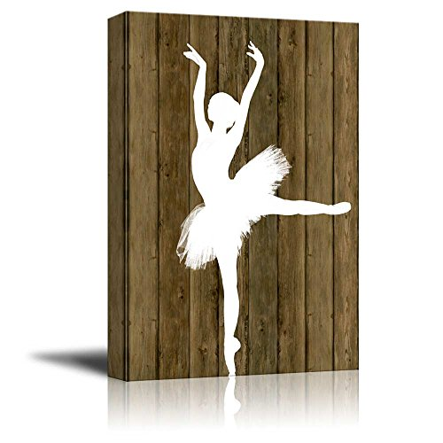 Ballet Dancing White Ballet Dancer Silhouette on Rustic Wood Background ation