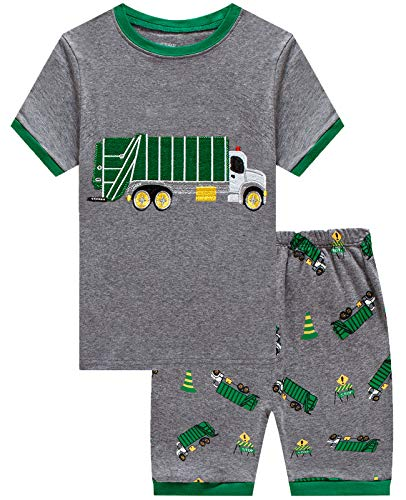 Little Boys 2 Piece Short Pajamas Garbage Truck 100% Cotton Toddler Pjs Summer Kids Clothes - 2 Piece Pjs Boys