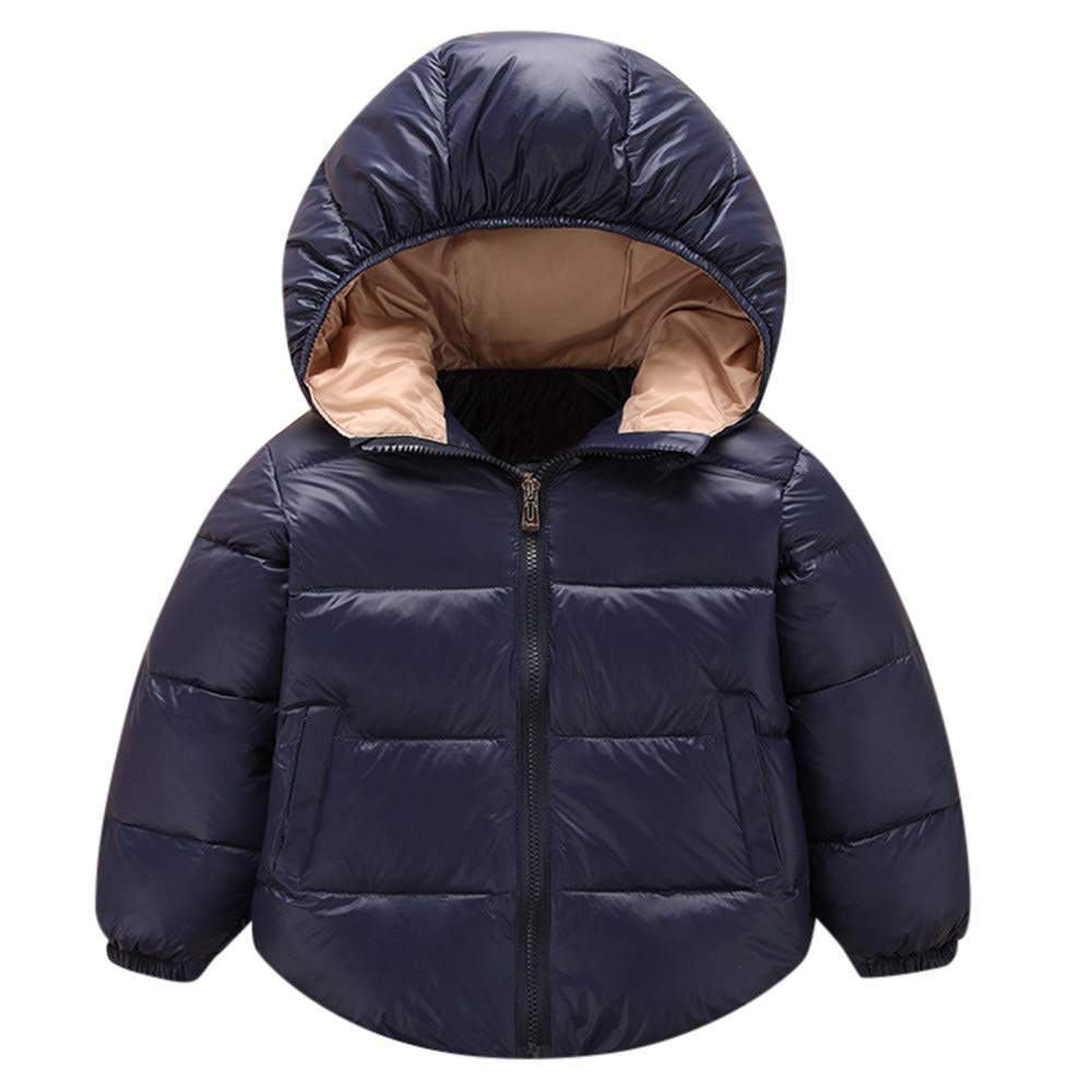 Little Kids Winter Warm Coat,Jchen(TM) Clearance! Baby Kids Little Boy Girl Winter Warm Down Jacket Coat Hooded Zipper Keep Warm Outerwear for 1-5 Y (Age: 18-24 Months, Navy)