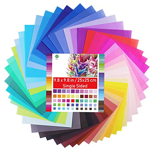 Origami Paper Large, Opret 100 Sheets 9.8x9.8 inch 25x25 cm Origami Paper 50 Vivid Colors Single Sided for Arts and Crafts Projects