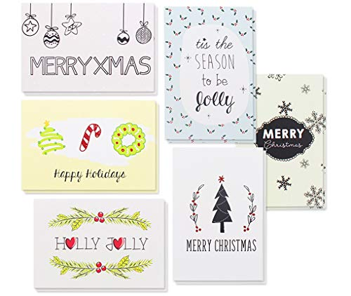 36-Pack Merry Christmas Greeting Cards Bulk Box Set - Winter Holiday Xmas Greeting Cards with Cute Doodle Designs, Envelopes Included, 4 x 6 Inches (Holiday Card Assorted)