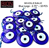 Bion, Evil Eye Beads, Talisman Charm (Blue Large - 2.75'' - 10pcs)