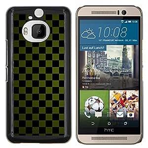 EJOOY---Cubierta de la caja de protección para la piel dura ** HTC One M9Plus M9+ M9 Plus ** --Textura a cuadros verde