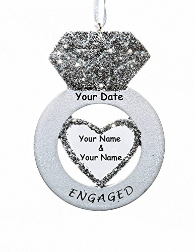 Personalized Glittered Diamond Engagement Ring Christmas Ornament