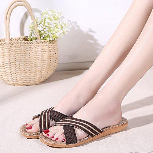Flax Slippers HRFEER Breathable Women Lightweight for Sandals Unisex Beach Flat Shoes Summer Men Coffee TEqr5q