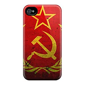 Slim Fit Protector Shock Absorbent Bumper Grunge Flag Of The Soviet Union Cases For Iphone 4/4s