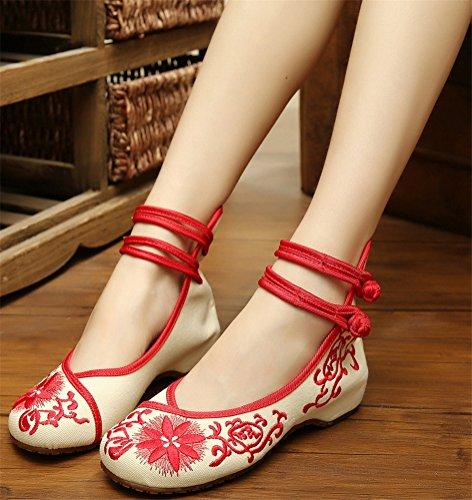 Chaussures Brodées Satuki Pour Les Femmes, Style Chinois Noeud À La Main Casual Mocassins Chaussures Plates Rouges