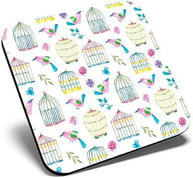 Posavasos cuadrado con diseño de jaula de pájaro y acuarela   Posavasos de calidad brillante   Protección de mesa para cualquier tipo de mesa #21224