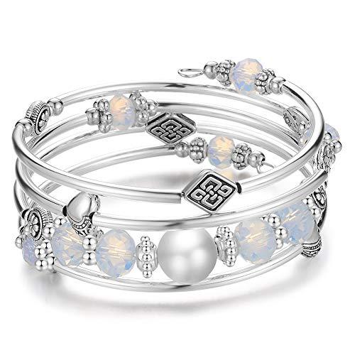 Opal Wrap Bracelet - Wrap Bangle Layered Crystal Bracelet - Fashion Jewelry Bead Bracelet Gifts for Women Girls (04-Opal)