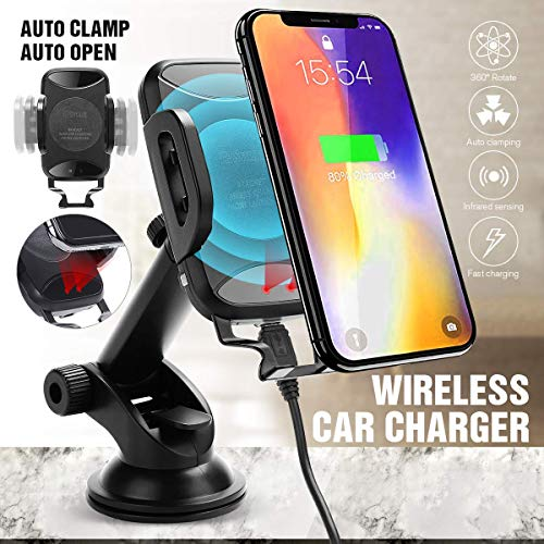 Wireless Fast Car Mount Charger Dashboard & Windshield Car Mount IR Sensor Cell Phone Holder Standard Charge for iPhone Xs Max R 8 Plus Samsung Galaxy S9 S8 Edge S7 S6 Note 8 & Other Smartphone