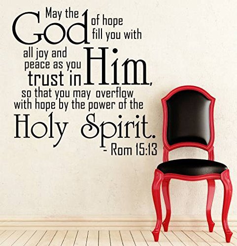 Wall Decals Made In USA Quotes Bible Verse Psalm Romans 15:13 May The God Of Hope Lord God Quote Vinyl Decal Sticker Bedroom Decor Art Home Interior Design Window Decal DA3625 (22