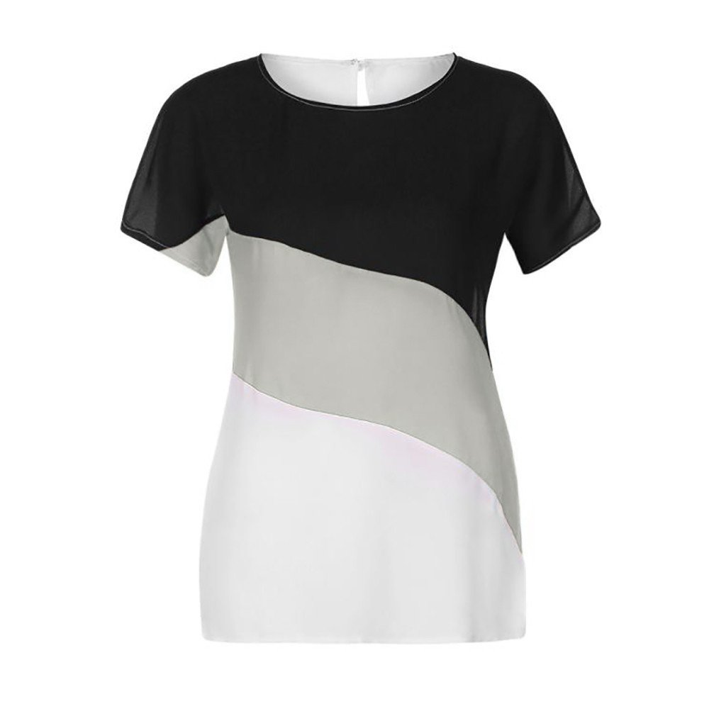 UFACE 2019 Damen Farbblock Chiffon Kurzarm Casual Bluse Shirts Tunika Tops