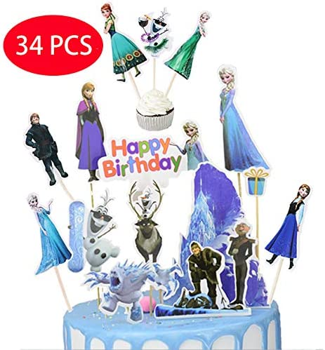 10pcs cake toppers Happy Birthday Party Supplies Cake Topper and 24 pcs Cupcake Toppers/ 34PCS Frozen Birthday Cake Topper and Cupcake Toppers