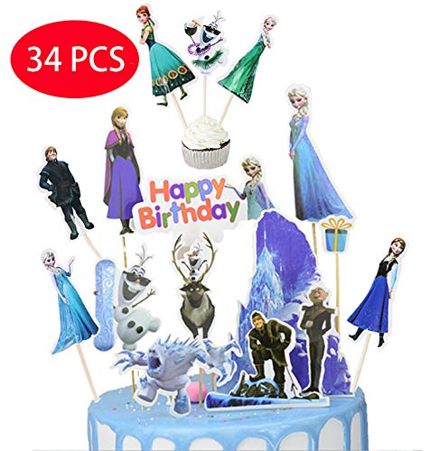 Frozen Cupcake Cake (34PCS Frozen Birthday Cake Topper and Cupcake Toppers - 10pcs cake toppers Happy Birthday Party Supplies Cake Topper and 24 pcs Cupcake)