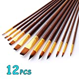 Joyooss Artist Paint Brushes, Flat Pointed Tip Nylon Hair Fine Art and Craft Brush Pinceles Set,12 Pieces Professional for High Detailed Painting Oil Water Acrylic Painting