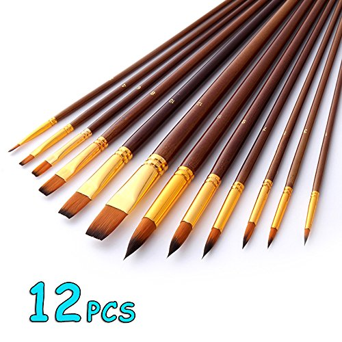 Joyooss Artist Paint Brushes, Flat Pointed Tip Nylon Hair Fine Art and Craft Brush Pinceles Set,12 Pieces Professional for High Detailed Painting Oil Water Acrylic Painting by Joyooss