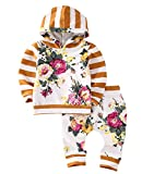 2pcs Girls Hooded Sweatshirt Tops Floral Pants Baby Take Home Outfits Costume (5 T, Yellow)