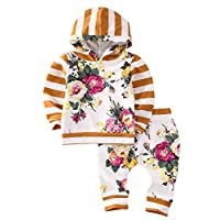 2pcs Girls Hooded Sweatshirt Tops Floral Pants Baby Take Home Outfits Costume...
