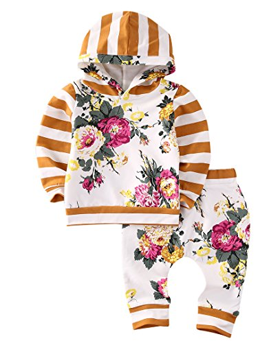 Yellow Hoodie Costume (2pcs Girls Hooded Sweatshirt Tops Floral Pants Baby Take Home Outfits Costume (4 T, Yellow))