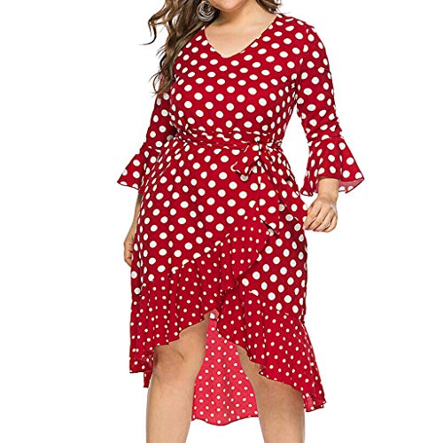 - Mikilon Women' s Plus Size Polka Dots Midi Dresses V Neck Long Sleeve Belted Asymmetrical Ruffle Hem Cocktail Party Dresses Red