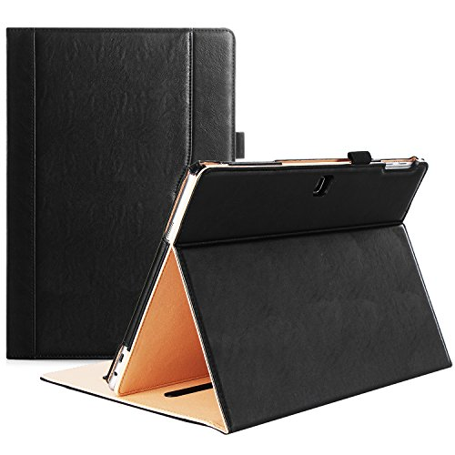 ProCase Galaxy TabPro S Case, Leather Stand Folio Case Cover for Galaxy TabPro S 12 inch 2-in-1 Tablet 2016, with Multiple Viewing Angles, Document Pocket (Black)